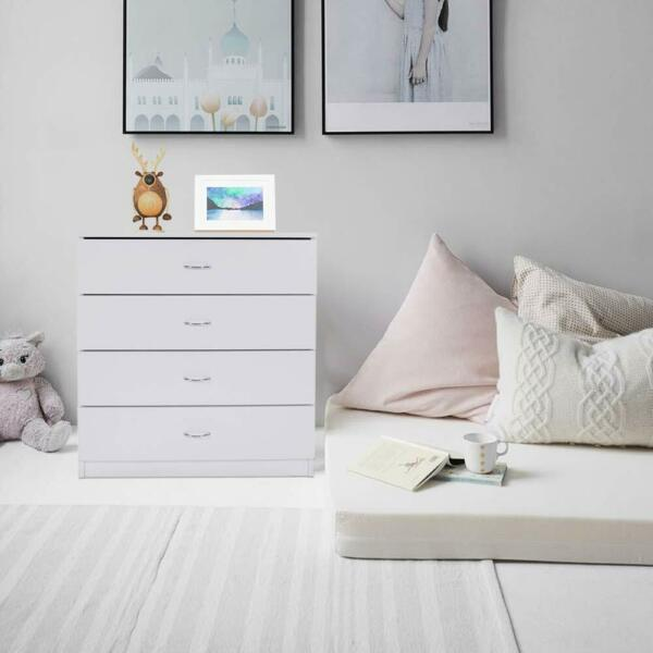 Dressers Chest of Drawers 4 Drawer Soft White Finish Bedroom Storage Furniture $79.99