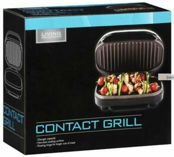 CONTACT GRILL NON-STICK, FLOATING HINGE, BURGERS, PANINI, VEGETABLES - BRAND NEW