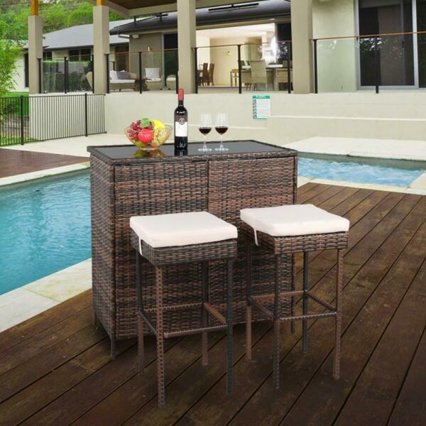 3PCS Rattan Wicker Bar Set Patio Outdoor Table amp; 2 Stools Furniture Brown