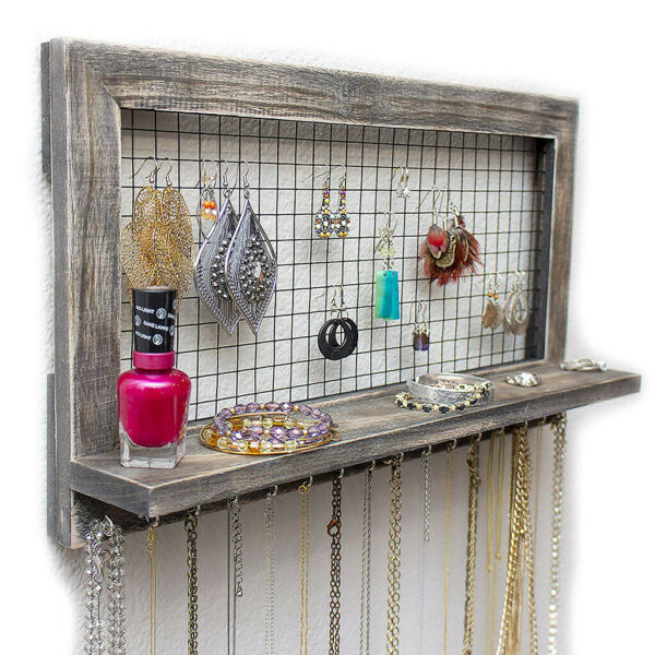 Jewelry Organizer Wooden Wall Mounted Holder For Earrings Necklaces 17.5 x 10''