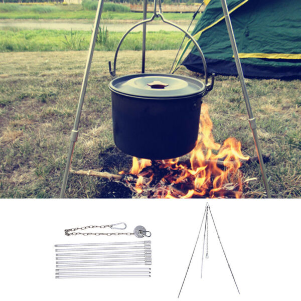 Outdoor Camping Picnic Cooking Tripod Hanging Pot Campfire Grill Stand Alloy
