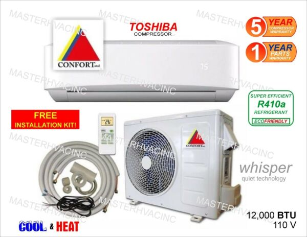 12000 BTU Ductless Air Conditioner Heat Pump Mini Split 110V 1 Ton With KIT $449.00