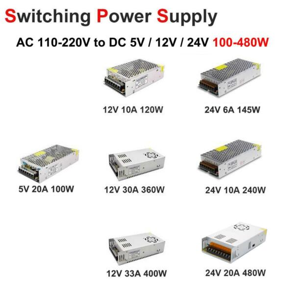 AC 110V-220V TO DC 12V 24V 5V 10203033A Switch Power Supply Adapter LED Strip