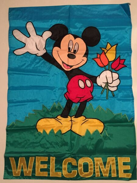 DISNEY MICKEY MOUSE WELCOME TULIP FLOWER GARDEN APPLIQUE LARGE YARD FLAG NEW