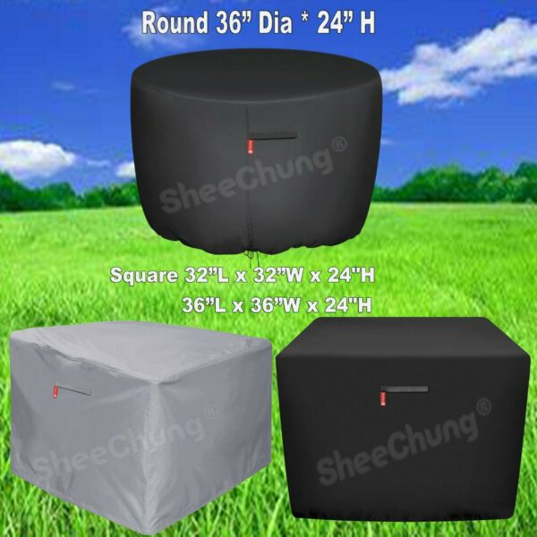 Outdoor Square Round Gas Fire Pit Cover Durable Waterproof Patio Table Cover PVC