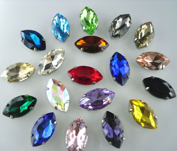 Horse eye shape 17X32mm Glass Color Faceted Glass Round Jewels silver bottom sew