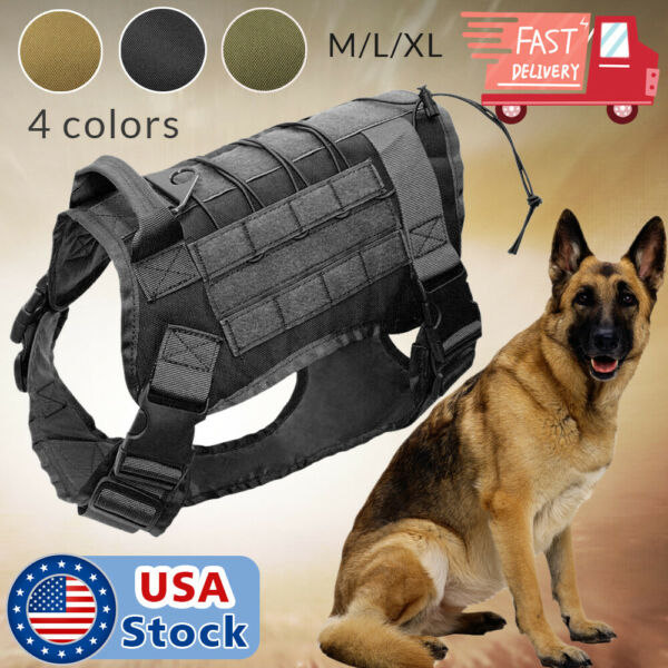 US Police K9 Tactical Training Dog Harness Military Adjustable Molle Nylon Vest