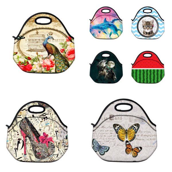 Custom Designs Kids Insulated Lunch Tote Storage Neoprene Baby Lunch Bag Handbag