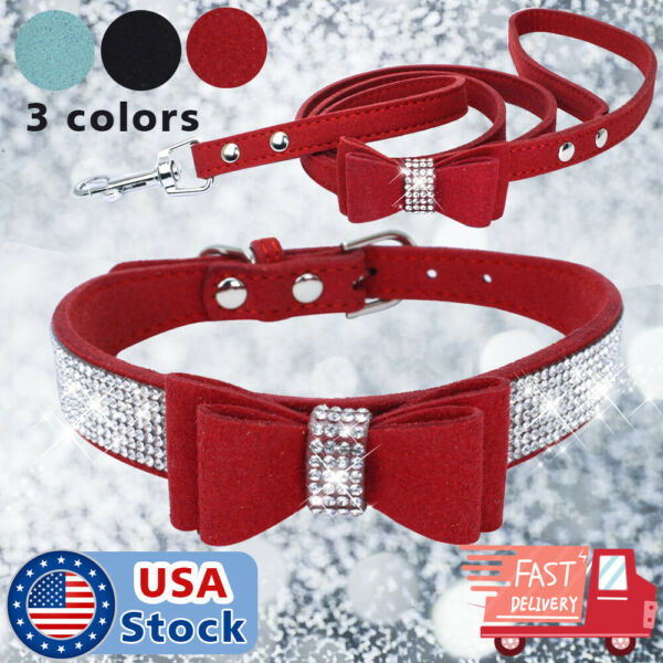 Pet Dog Collars Bling Rhinestone Sequins Necklace PU Leather CollarLeash S XL $15.98