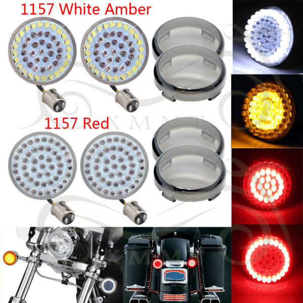 2Pair 1157 LED Turn Signals Light Inserts Smoke Lens Fit for Harley Street Glide
