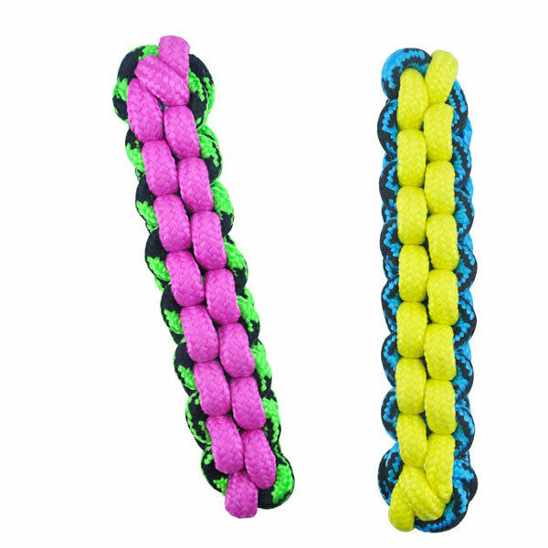 Paracord Rope Dog Toys Tough Fetch Stick Braided Chew Tug Choose Color 10 14