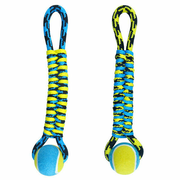 Paracord Dog Toys Tough Rope Tug & Tennis Ball Fetch Chew Blue or Yellow 14.5