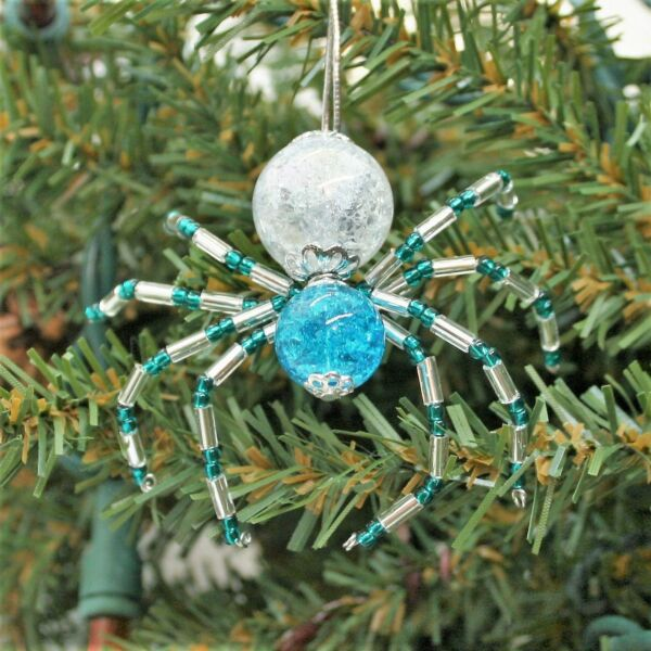 The Legend of the Christmas Spider Beading Ornament Kit. Makes 3. Tinsel Teal