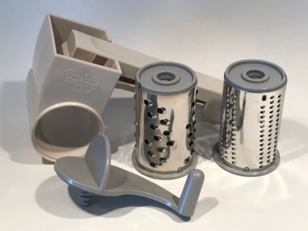 Pampered Chef Cheese Grater 2 Stainless Grater Cylinders Right Or Left Handed
