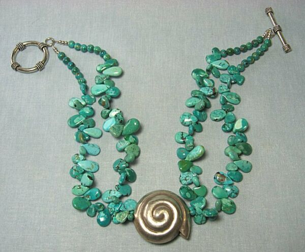 Test Silver & Turquoise Necklace w Nautilus Shell Form  17