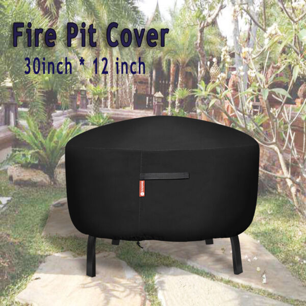 30 in Waterproof Fire Pit Cover BBQ Grill Garden Cover Round Furniture Protector