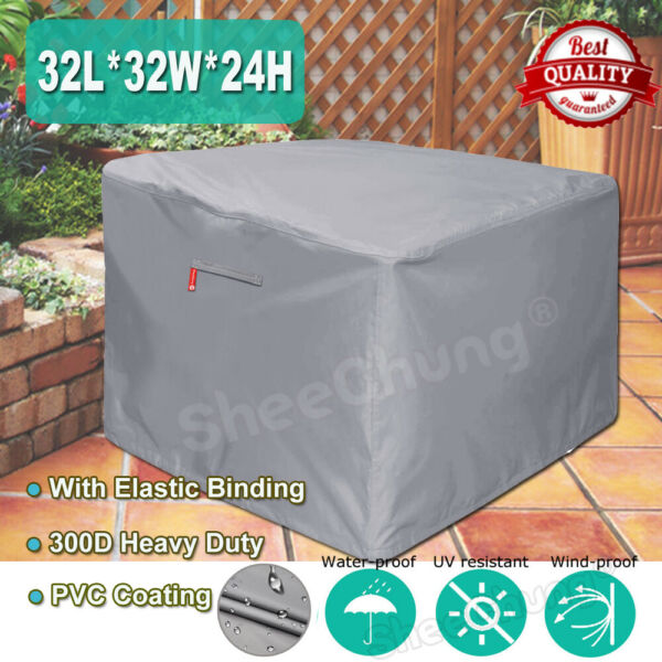 32In Square Gas Fire PitTable Cover - 300D Heavy Duty Fabric&PVC Outdoor Cover