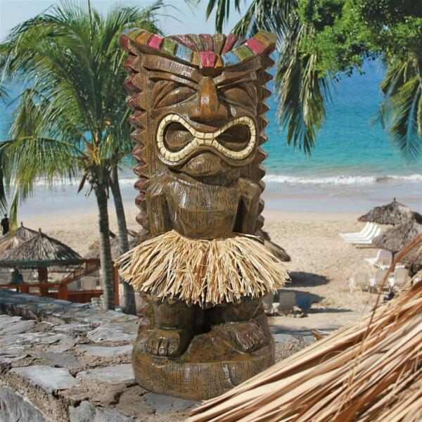 Pau Hana Hawaiian Tiki Totem Design Toscano Exclusive Hand Painted 20