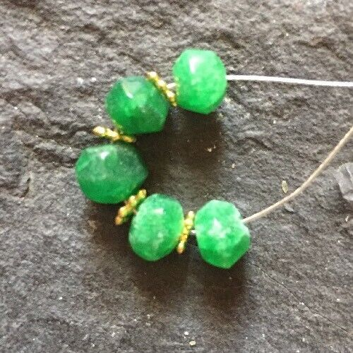 Genuine Earth Mined Faceted Rondelle EMERALD BEADS 4.5 to 6.5mm #68N