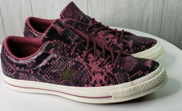 Converse One Star Mens Size 13 OX Low Wine and Black Leather Reptile Pattern