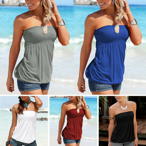 Ladies Plain Strapless Sleeveless Ruched Boob Tube Top Blouse Women Bandeau Top