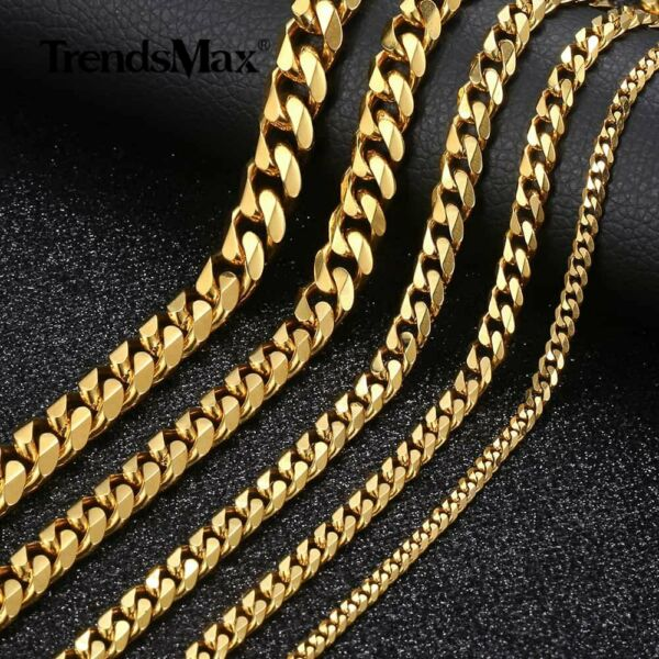357911mm Gold Tone Curb Cuban Link Chain Necklace 89