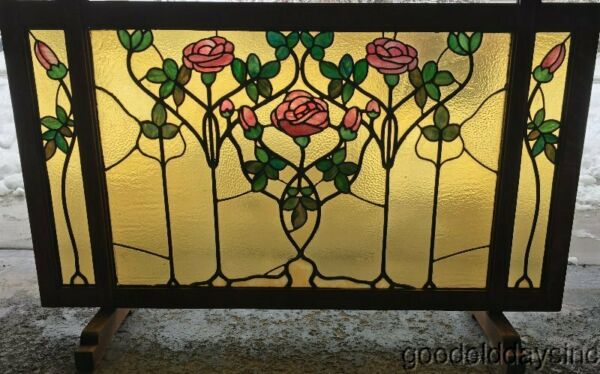 Arts amp; Crafts Tobey Furniture Co. Chicago Stained Leaded Glass Fireplace Screen
