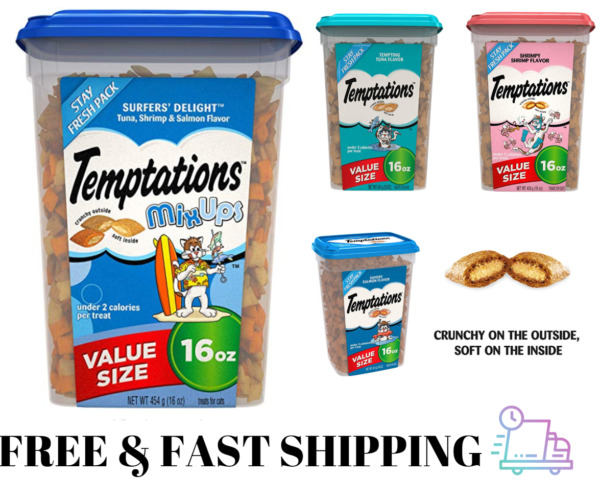 Temptations Classic Treats for Cats Treat Mix Flavors Tuna Shrimp Salmon 16 Oz