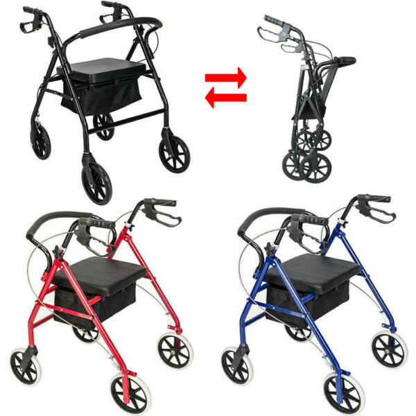 "NEW Rollator Walker Adult Senior with 4 Wheel 7.8"" Casters NEW!"