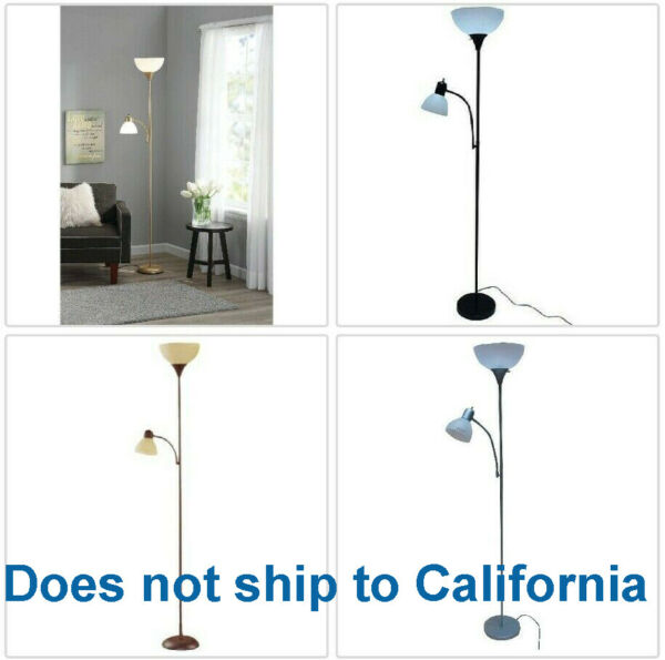 Metal Floor Lamp with Reading Light for Living Room Uplight Stand 72