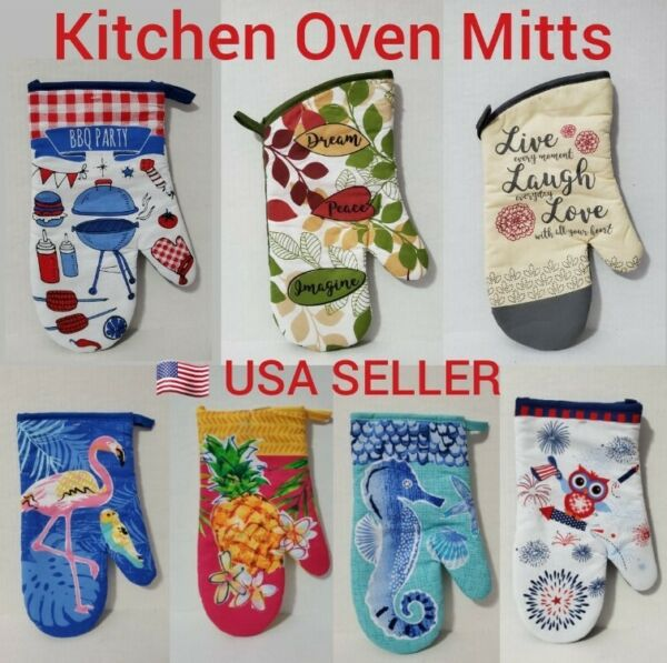 New Kitchen Oven Mitt With Quilted Cotton Lining Heat Resistant Holder
