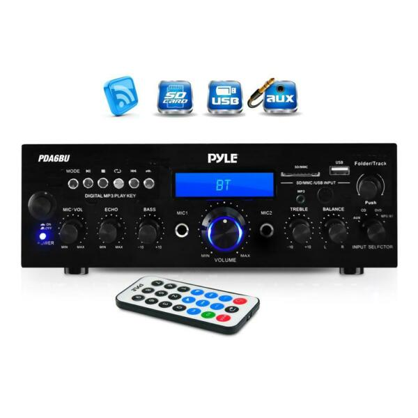 Pyle 200W Bluetooth LCD Home Stereo Amplifier Receiver with Remote amp; FM Antenna