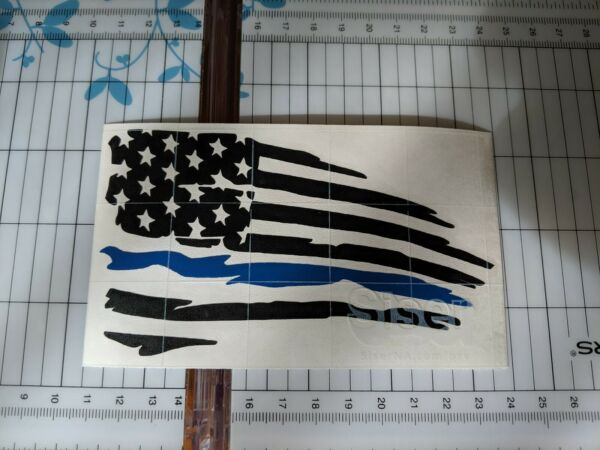 Distressed American flag thin Blue line Vinyl Decal Sticker Ripped Torn USA $3.00