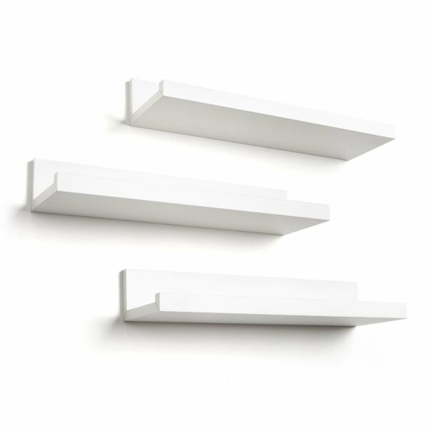 Set of 3 14-inch Floating Wall Shelves White
