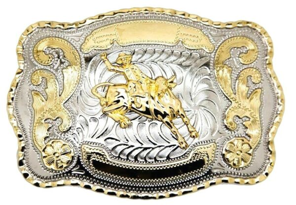 Bull Rider Cowboy Rodeo Cowboy Western Large Belt Buckle Gold Color Fashion $15.75