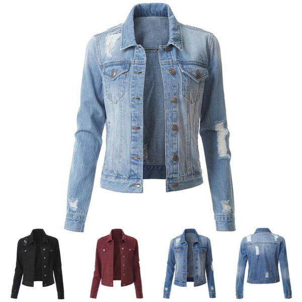 US Women Denim Jacket Long Sleeve Distressed Ripped Button Jeans Jacket Outwear