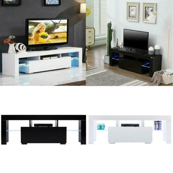 Modern TV Stand with LED Light Entertainment Center Console Table with Drawers