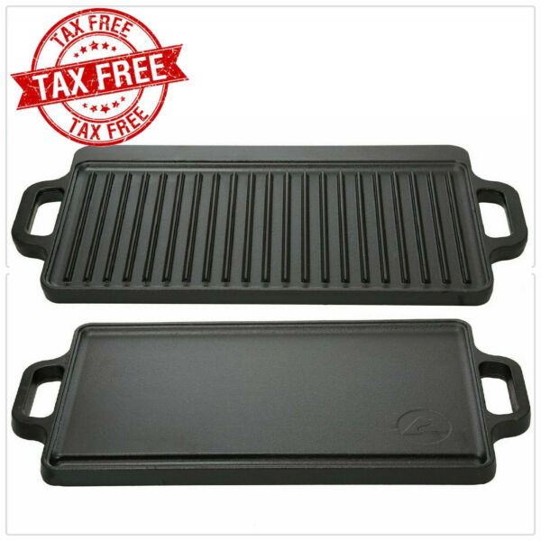 Reversible Cast Iron Grill Griddle Pan 17quot; x 9 Hamburger Steak Stove Top Fry New