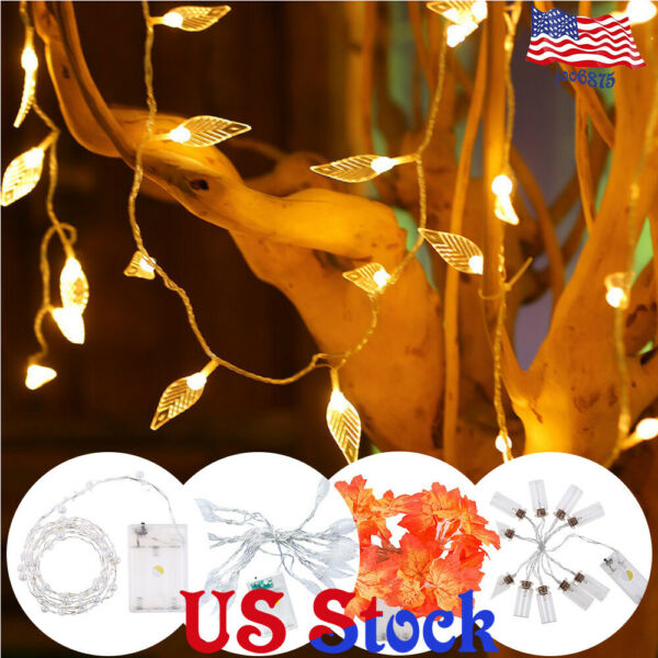 Battery 1.5M-6M10-40LEDs Leaves Pearls String Light Party Home Christmas Decor