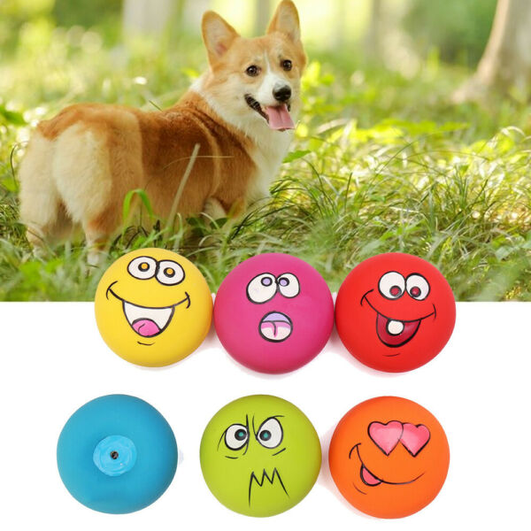 6PCS UNIEX LATEX DOG PUPPY PET PLAY SQUEAKY BALL WITH FACE FETCH TOY BRIGHT US