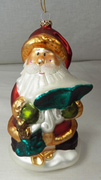 Hand Blown Glass SANTA CLAUS Christmas Ornament in Wood Crate Storage Box 6quot;