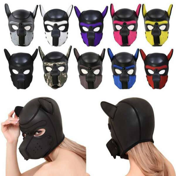 Soft Padded Rubber Neoprene Puppy Cosplay Role Play Dog Mask Full Head with Ears