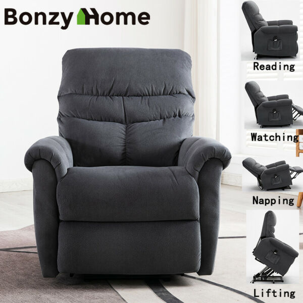 Manual Recliner Chair Durable Living Room Sofa Overstuffed Tufted Back Wide Seat