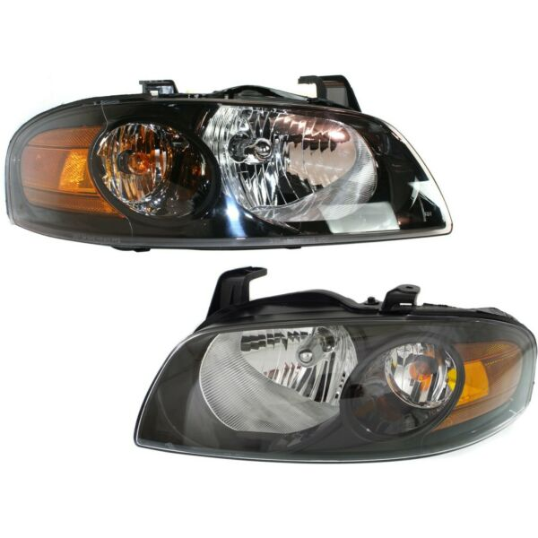 Headlight Set For 2004 2005 2006 Nissan Sentra Left and Right Black Housing 2Pc