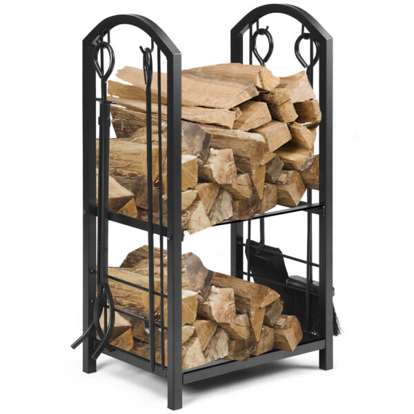 Fireplace Log Rack with 4 Tools Set Fireside Firewood Holders Indoor Outdoor