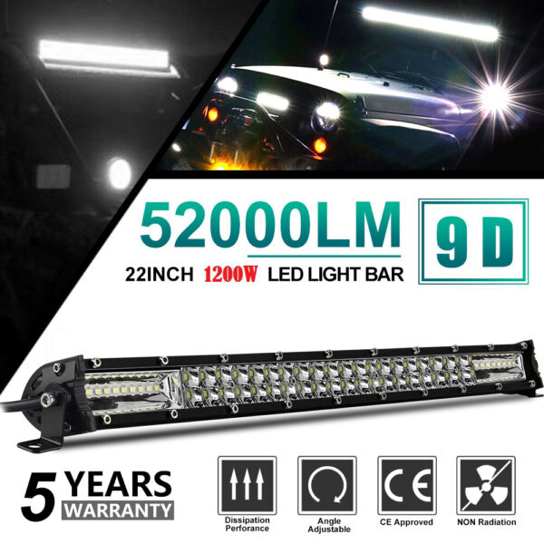 20inch 1200W Led Light Bar Dual Row Spot Flood Combo Work UTE Truck SUV ATV 22#x27;#x27;