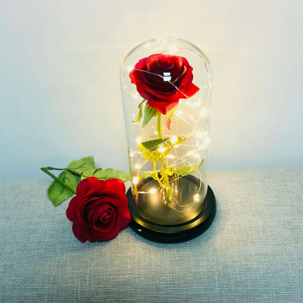 Beauty And The Beast Enchanted Rose in a Glass Dome LED Light Lamp Decor Gift Yn