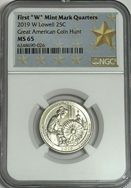 2019 W NGC MS65  LOWELL FIRST W QUARTER GREAT AMERICAN COIN HUNT 25c WEST POINT