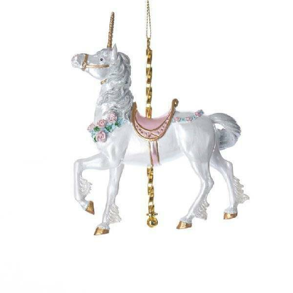 Kurt Adler Carousel Collectible White Unicorn Pink Saddle Mythical