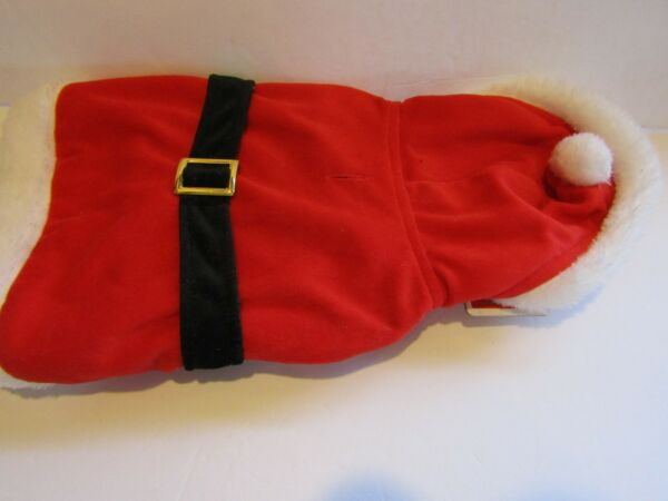 HOLIDAY Pet Santa Claus Costume For DOGS Small 5 lbs 15 lbs RED Velour Fabric $2.99